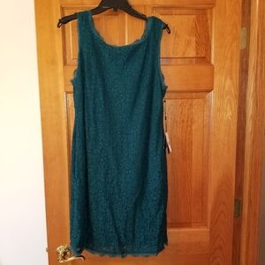 Hunter Green Adrianna Papell Lace Dress